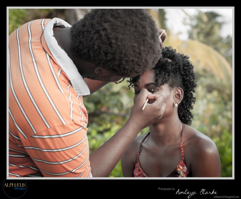 Alpheus doing Victoria's make-up on location of the Points Beyond shoot.
